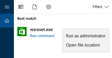 Windows Store Cache dengan WSReset.exe
