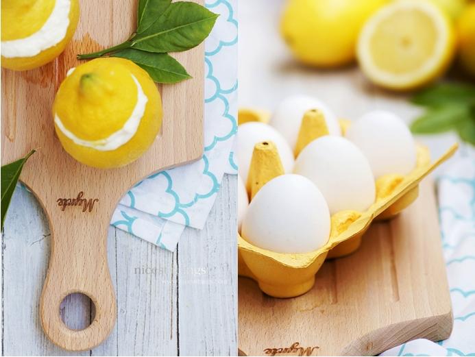 Mousse Au Citron in echten Zitronen serviert