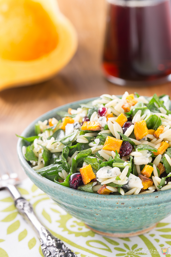 Butternut Squash Orzo Salad with Maple Vinaigrette | Cooking on the Front Burner