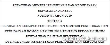 Permendikbud Nomor 8 Tahun 2019
