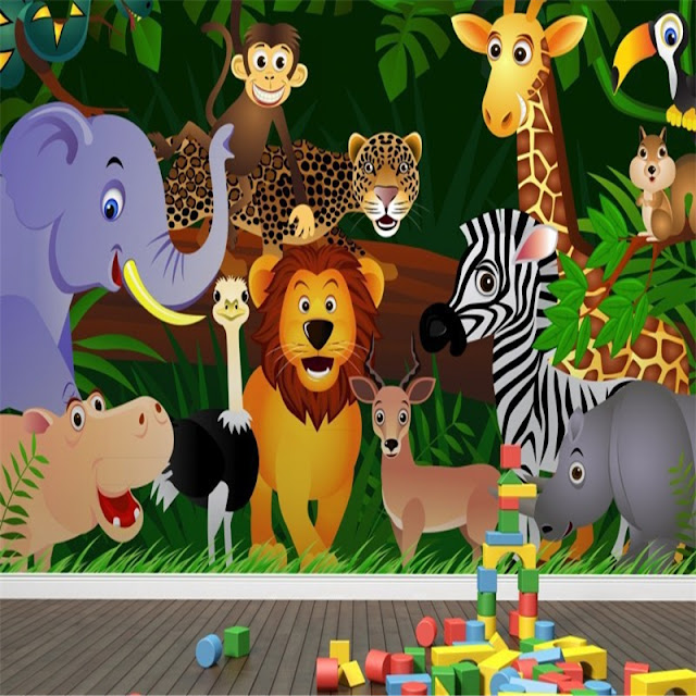 Jungle Wall Mural Kids Room Cartoon Animals