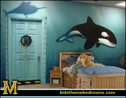 whale theme bedroom ideas - whale theme decor - whale wall murals - underwater theme bedrooms - whale theme nursery.- whales bedding - whales wall decal stickers - boat beds -