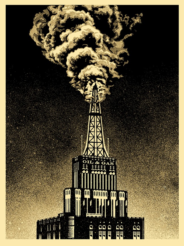 """Oil & Gas Building"" Obey Giant Screen Print by Shepard Fairey"