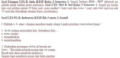 Soal Ulangan UTS B. Indo KTSP Kelas 3 Semester 1/ Ganjil Terbaru 2016 - 2017