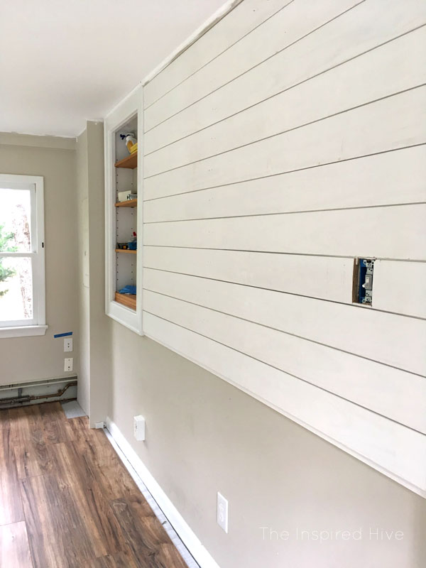 How to install tongue and groove shiplap planks. One Room Challenge playroom makeover update.