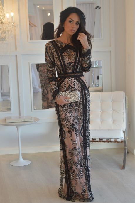 vestido de festa preto com nude