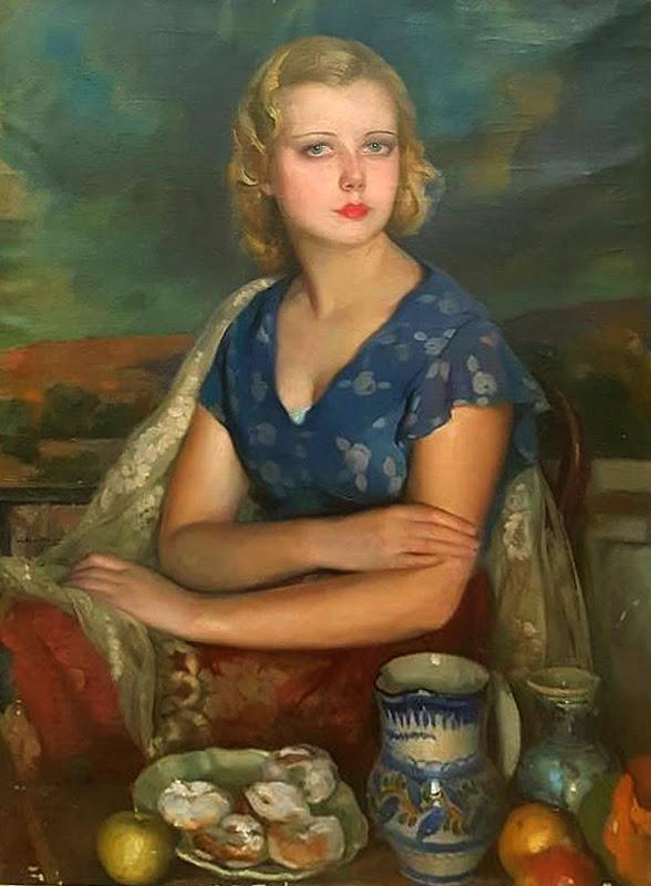 Retrato de Maruja, Victor Moya Calvo, Pintor español, Pintores Valencianos, Retratos de Victor Moya Calvo, Pintores españoles