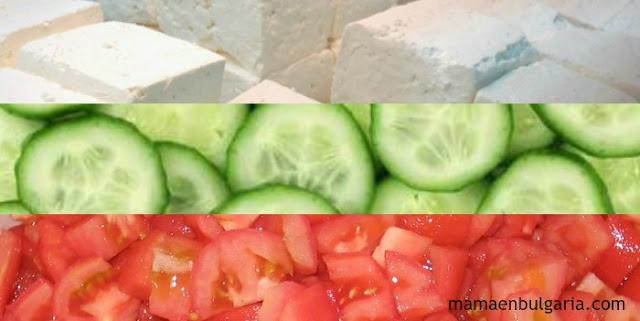 Ingredientes ensalada Shopska Bulgaria