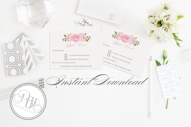 Dusty Pink Peonies, Roses, Wedding, RSVP, Reply Card, template