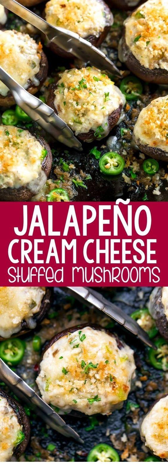 Jalapeño Cream Cheese Stuffed Mushrooms