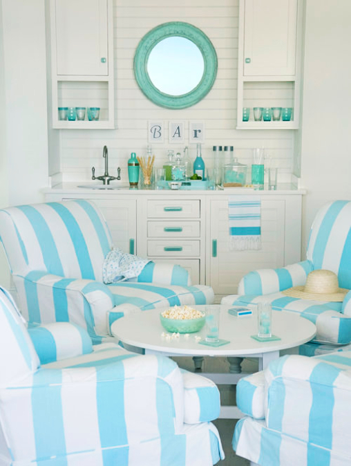 Soft Pastel Blue Beach Cottage by the Sea Interior Design Ideas