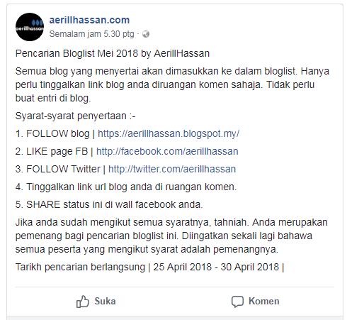 Pencarian Bloglist Mei 2018 bermula ..