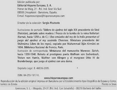 Edición de 2005 del libro de Josep Brunet i Bellet sobre el origen del ajedrez
