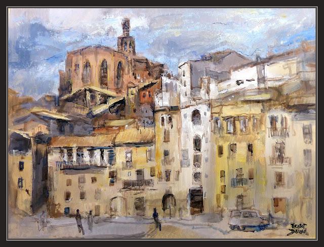 CARDONA-PINTURA-ART-PAISATGES-ESGLÉSIA-SANT MIQUEL-CASES-CARRETERA-POBLES-BARCELONA-CATALUNYA-QUADRES-ARTISTA-PINTOR-ERNEST DESCALS-