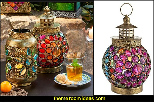Gem Round Lantern   I Dream of Jeannie theme bedrooms - Moroccan style decorating - Jeannie bedroom harem style - Arabian Nights theme bedrooms - bed canopy - Moroccan stencils - I dream of Jeannie bottle - satin bedding - throw pillows - Moroccan furniture