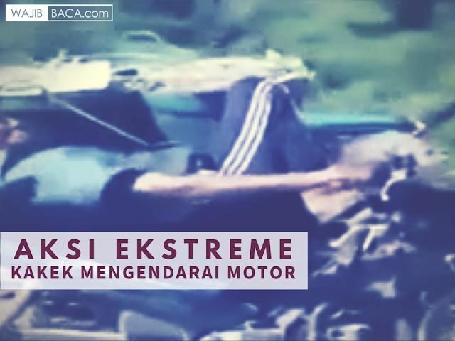 UNIK! Aksi Ekstreme Seorang Kakek Kendarai Motor Sambil Tiduran