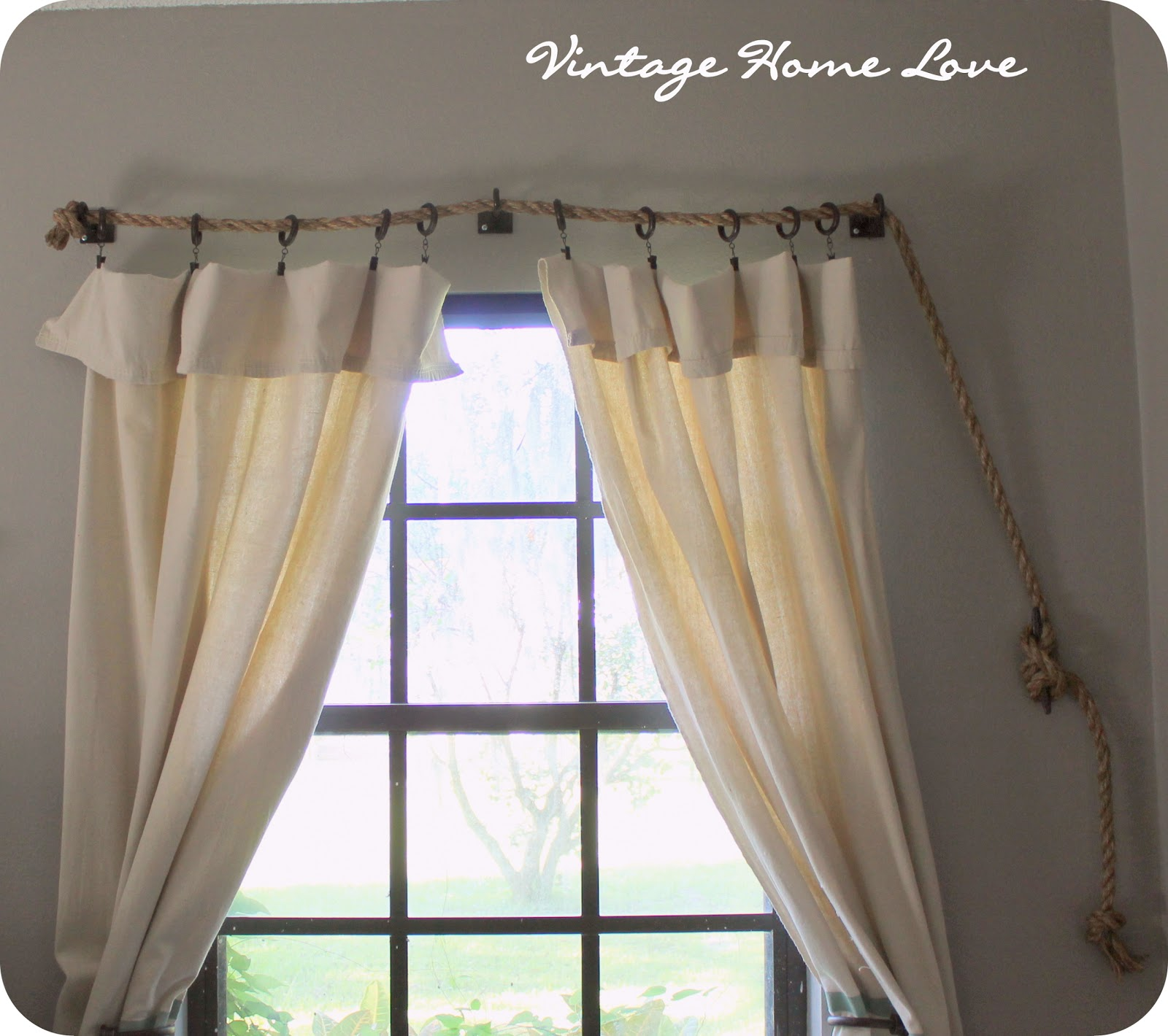 Rope Curtain Vintage Home Love Rope Curtain Rod And Diy Curtains