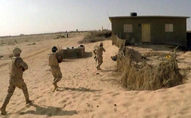 الجيش المصري يعلن قتل تكفيريين وتدمر 9 عشش وكهف بوسط سيناء علي يد قوات إنفاذ القانون