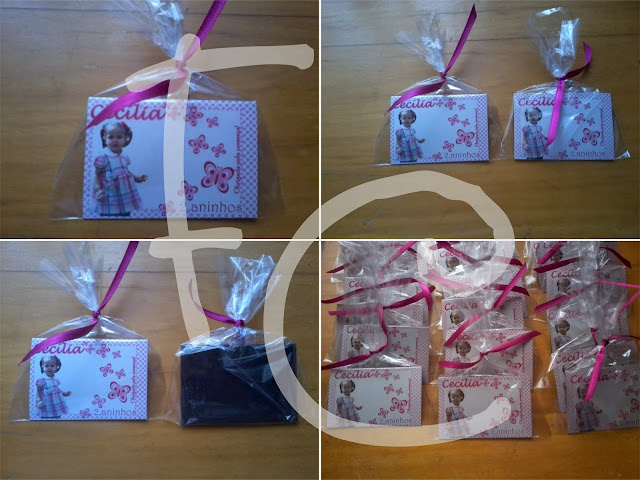 Lembrancinha 5X7 cm - Tema Borboletas Rosa e Branca