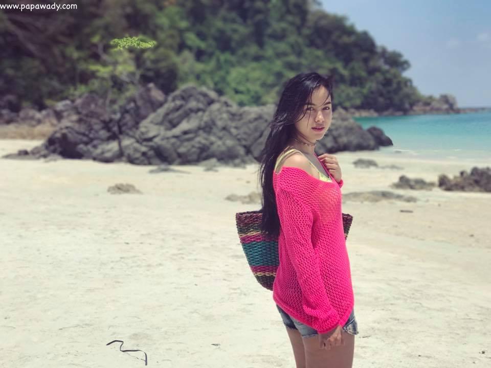 Aye Wut Yi Thaung At The Beach Fun Snaps
