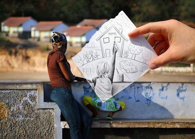 fotografia y dibujo a lapiz
