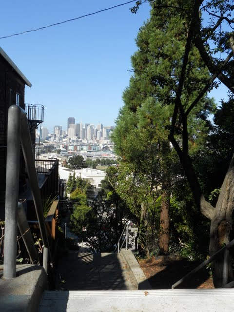 Potrero Hill stairway and San Francisco skyline view
