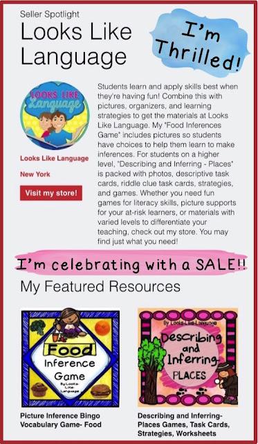 Celebrating with a SALE! https://www.teacherspayteachers.com/Store/Looks-Like-Language