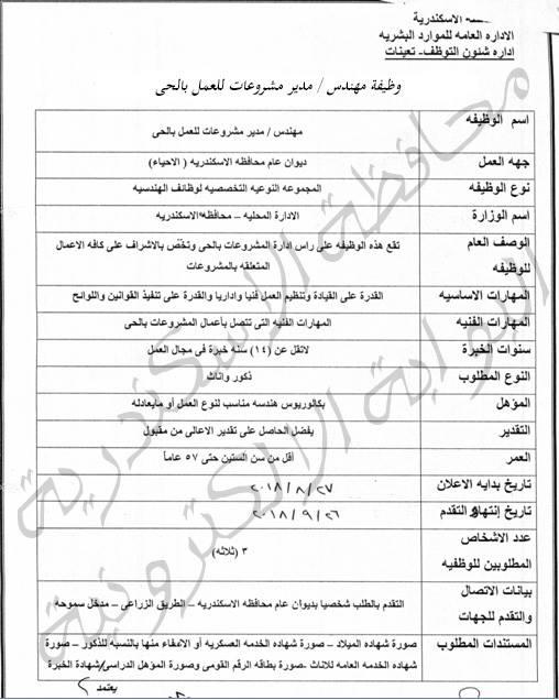 وظائف خالية بديوان محافظة الإسكندرية بتاريخ  30/ 8 / 2018