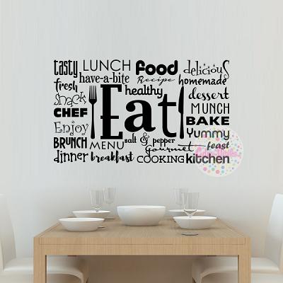 Vinilo decorativo de cocina tipografico eat w423 cdm vinilos decorativos para casas y vidrieras - Cambiar cocina con vinilo ...