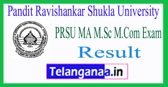 PRSU Pandit Ravishankar Shukla University MA M.Sc M.Com Exam Result 2018