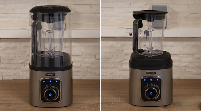The Kuvings SV500 with and without its anti-noise bell.