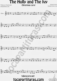 Partitura de Holly and The Ivy para Oboe Villancico Sheet Music for Oboe Music Score