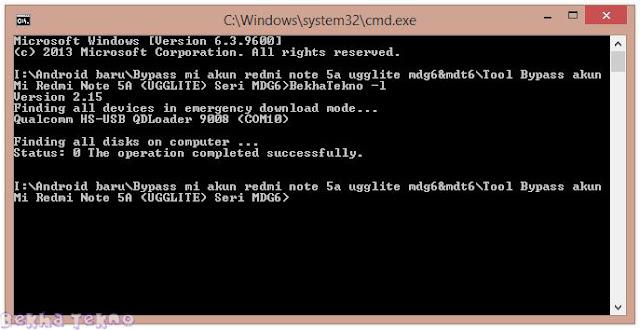 Free Cara Bypass/Remove Mi Account Xiaomi Redmi Note 5A (UGGLITE) Seri MDG6 MIUI 9 Work!