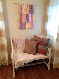 pink, brown, wood dowel, throw, throw pillows, striped curtains