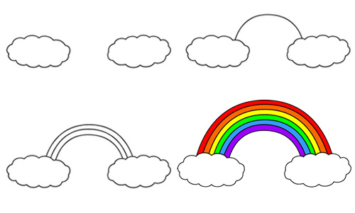 how to draw a rainbow drawing for children