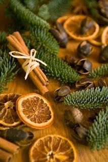 decoraioni in cannella, fette di arancia seccate