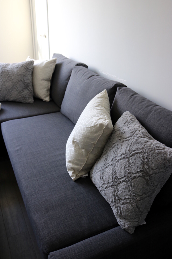 Gray and White Throw pillows on an Ikea Chaise Couch, Style a Chaise Couch, Gray Couch - Tori's Pretty Things Blog