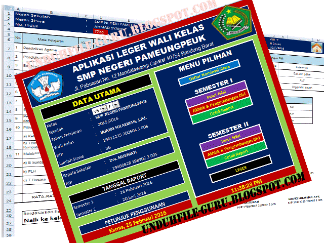 Download Aplikasi leger Wali kelas Format Excel