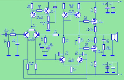 circuit amplifier 100W hifi mosfet amplifier class ab