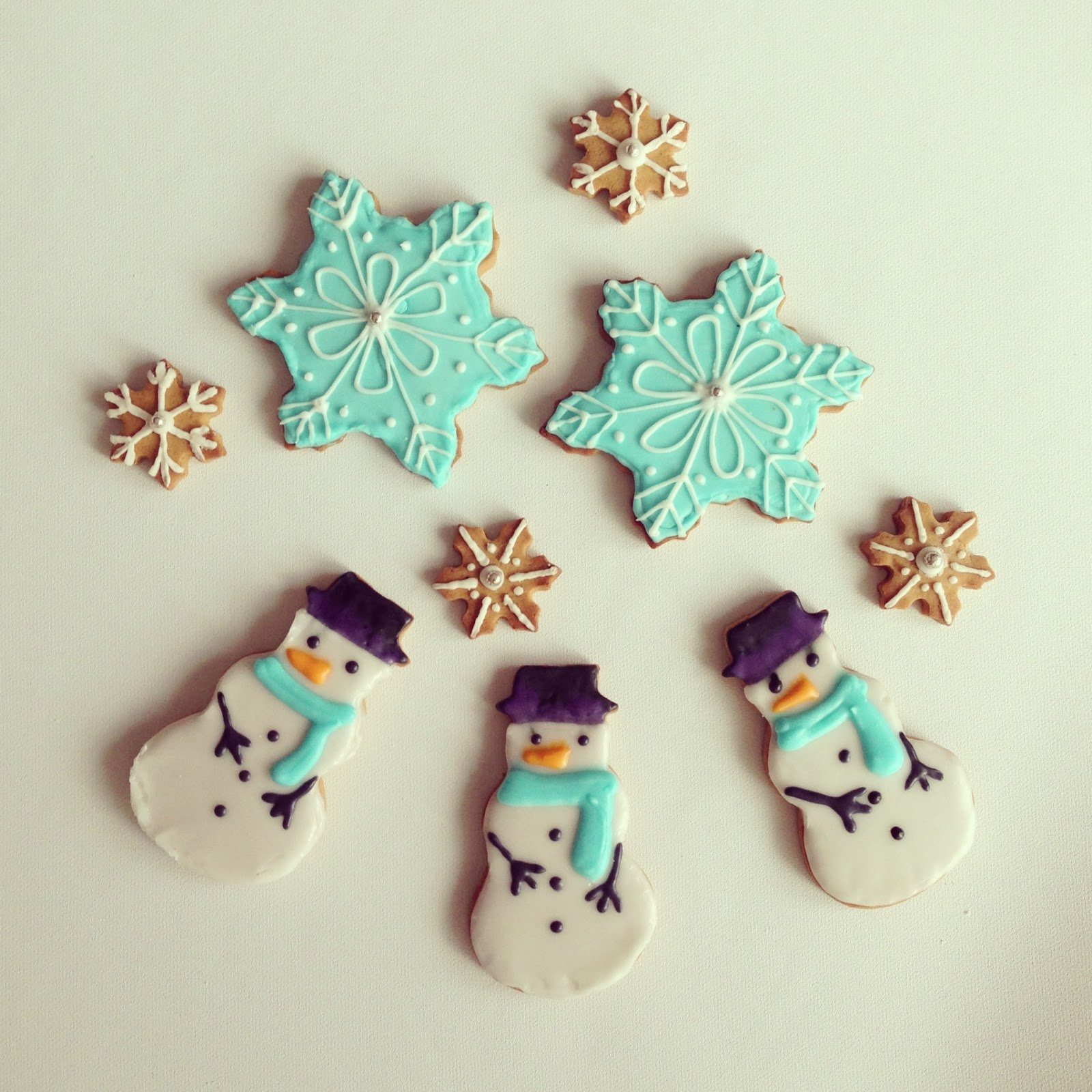 Homemade Gingerbread snowman and snowflakes cookies
