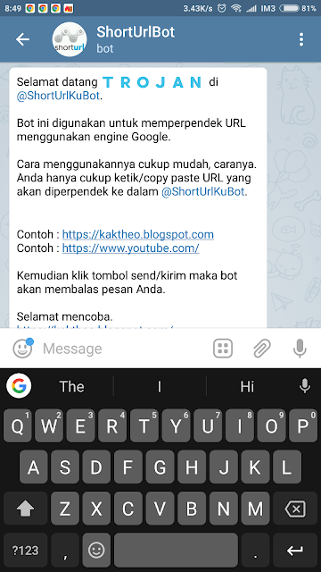 Membuat @ShortUrlKuBot - Short URL Bot Telegram