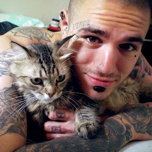 Foto de gatito con chico tatuajdo