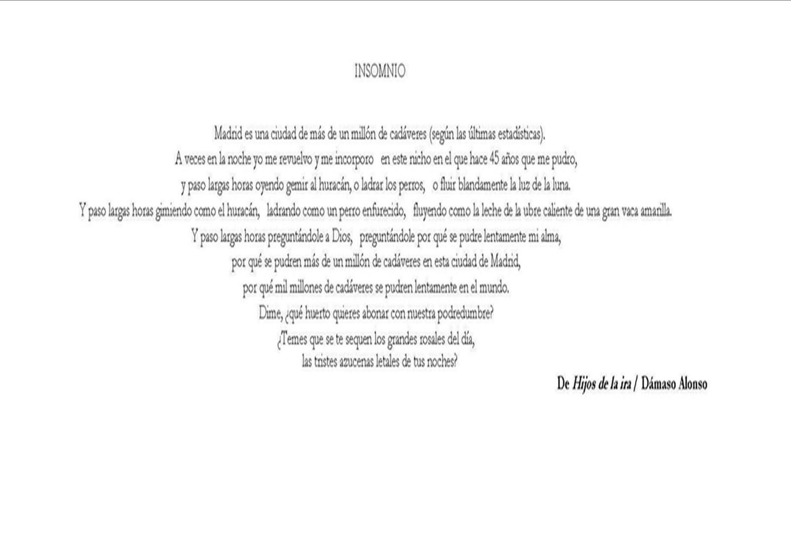 L S V Comentario Del Poema Insomnio Hijos De La Ira 1944