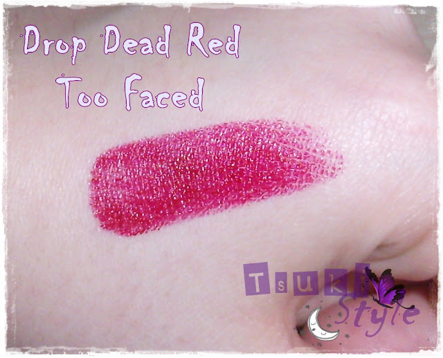drop dead red, too faced, swatches