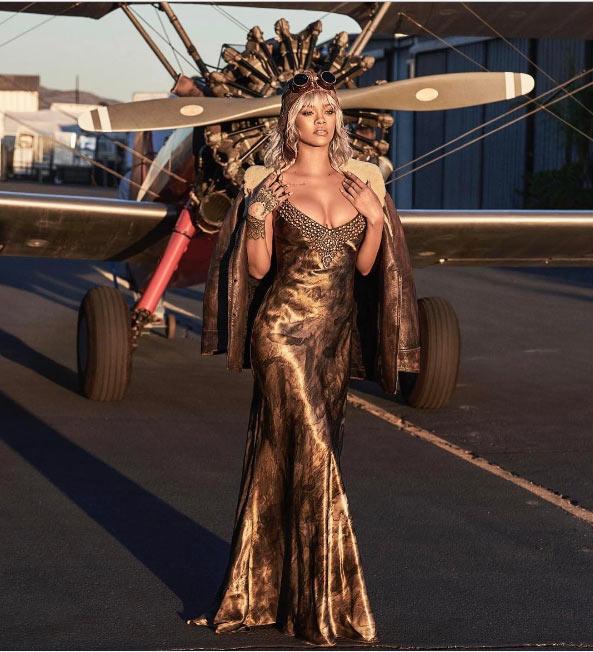 Rihanna honors Amelia Earhart with elegant pilot-themed photos
