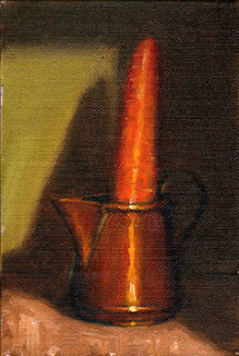 Oil painting of a carrot in a small copper jug.