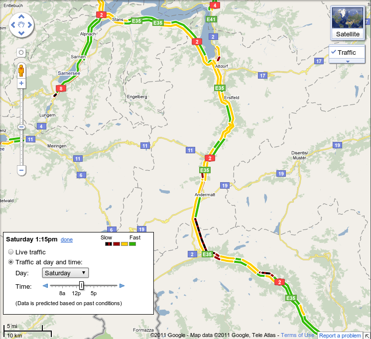 Google Lat Long Live traffic information for 13 European countries