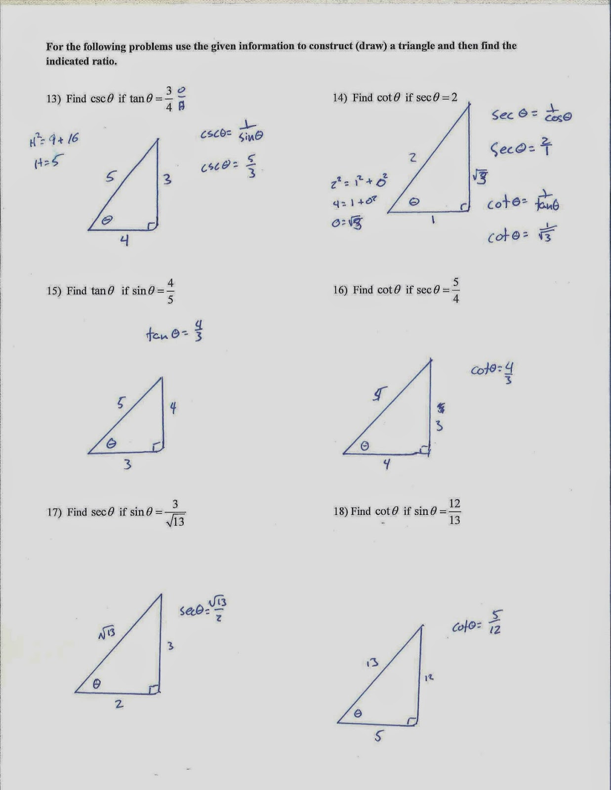 Mr. Doran's Algebra 2: Classwork and Homework 5/13