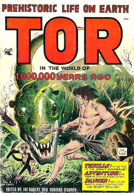 Tor v1 #4 st john golden age comic book cover art by Joe Kubert