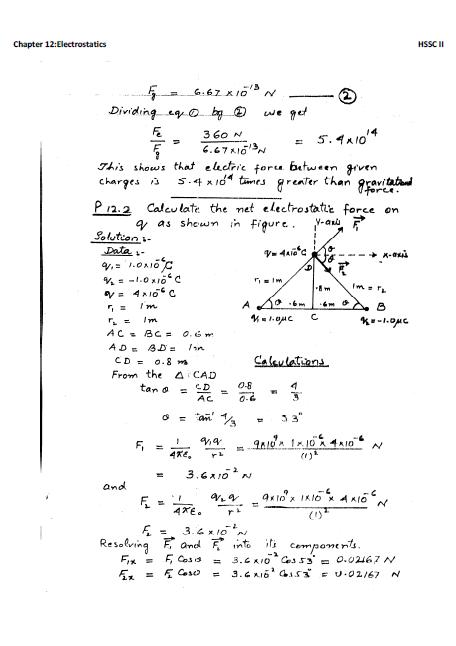 XII - Ch# 12 : Electrostatics :Solved Numericals